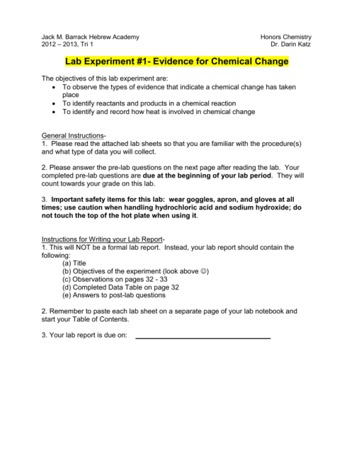 small resolution of Lab Experiment #1- Evidence for Chemical Change