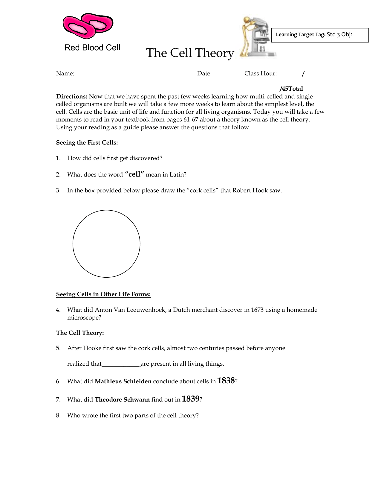 The Cell Theory Worksheet