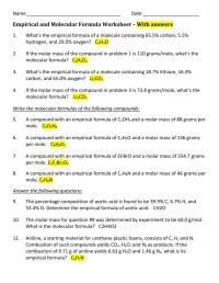 worksheet. Empirical Formula Worksheet With Answers ...
