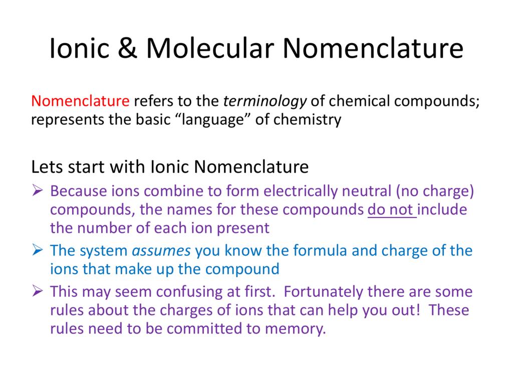 Ionic Amp Molecular Nomenclature