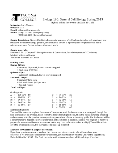 small resolution of Biology 160: General Cell Biology Spring 2015 Hybrid online Sa 8