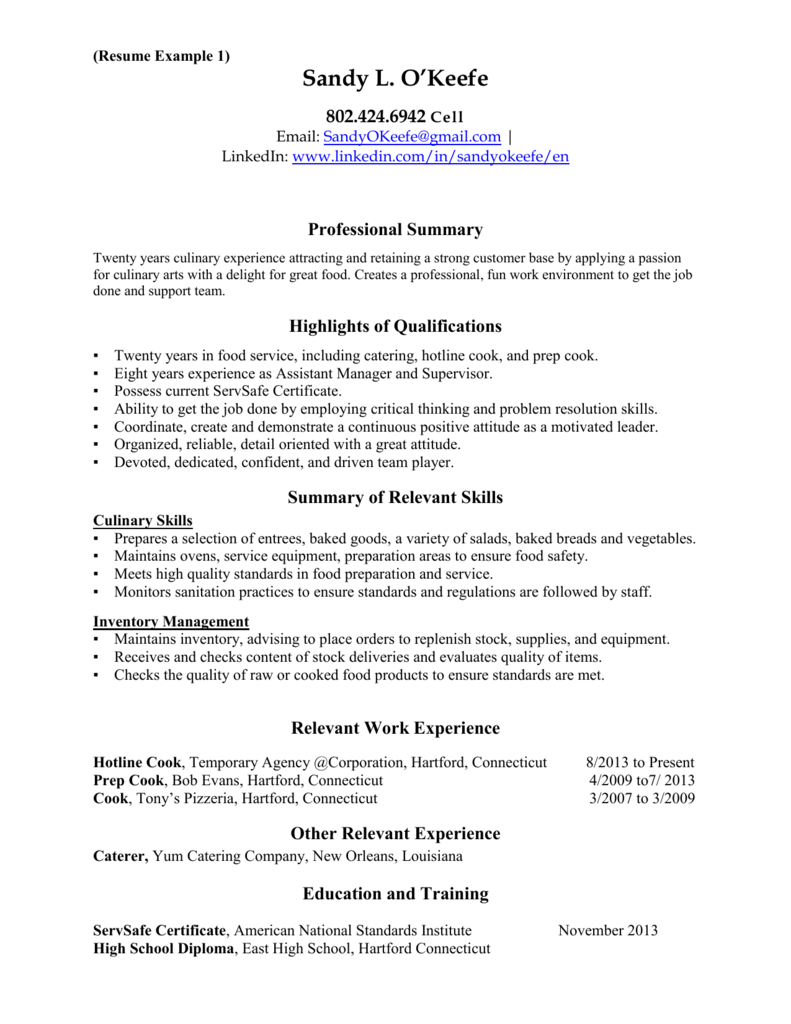 Casac T Resume Sample Resume Examples 1 4