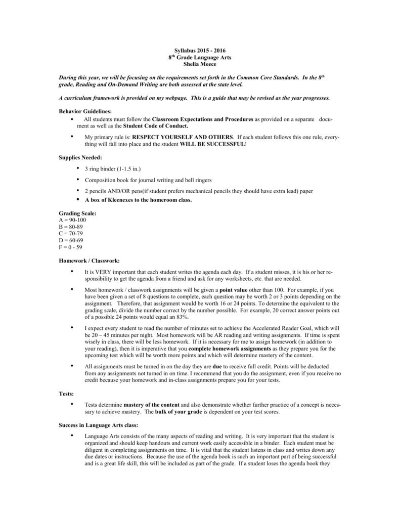 medium resolution of 8th Grade Language Arts Syllabus 2015-16