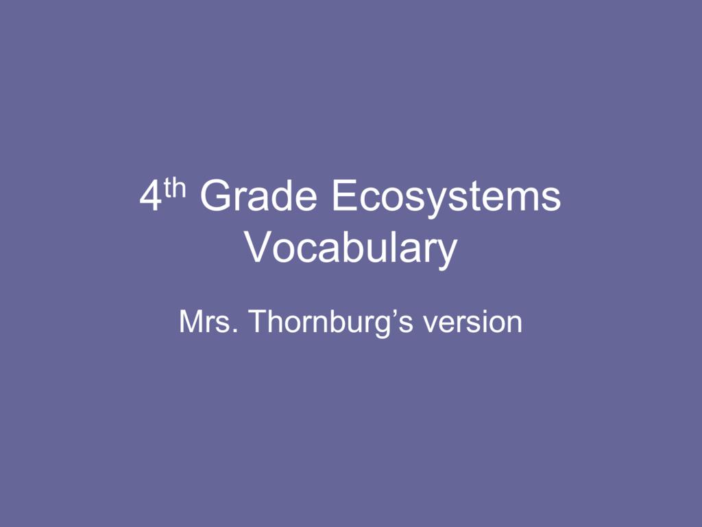 hight resolution of 4th Grade Ecosystems Vocabulary