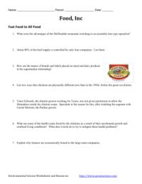 Food, Inc. Video Activity