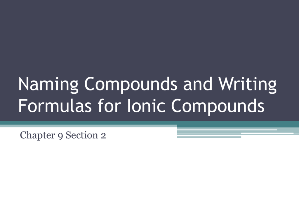 9 2 Naming And Writing Formulas For Ionic