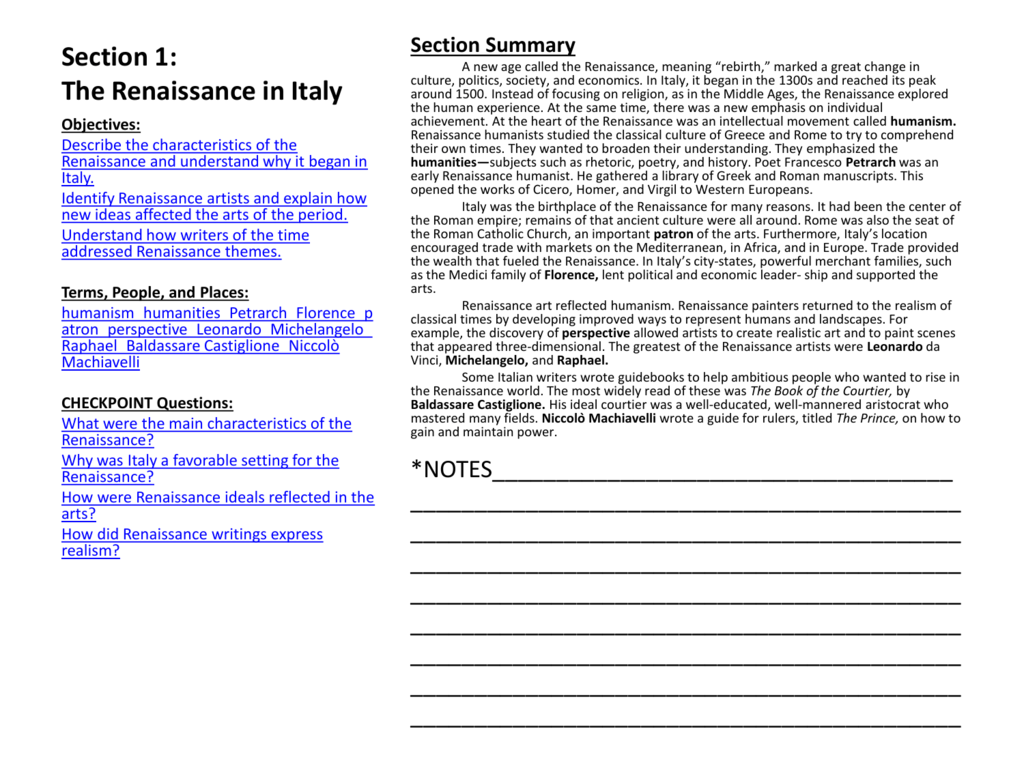 Italy Birthplace Of The Renaissance Worksheet Answers