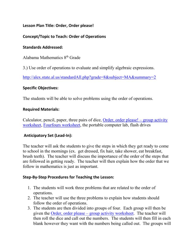 medium resolution of Order of Operations Lesson Plan