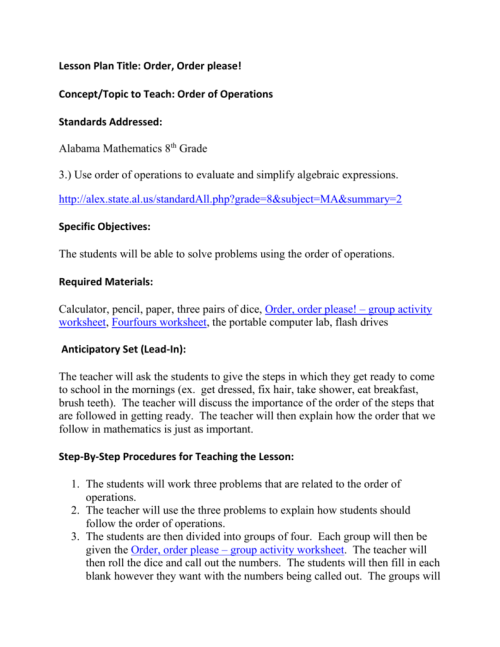 small resolution of Order of Operations Lesson Plan