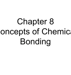 chapter 8 concepts of chemical bonding chemical bonding chemical bonds ionic three types electrostatic attraction between ions covalent sharing of  [ 1024 x 768 Pixel ]