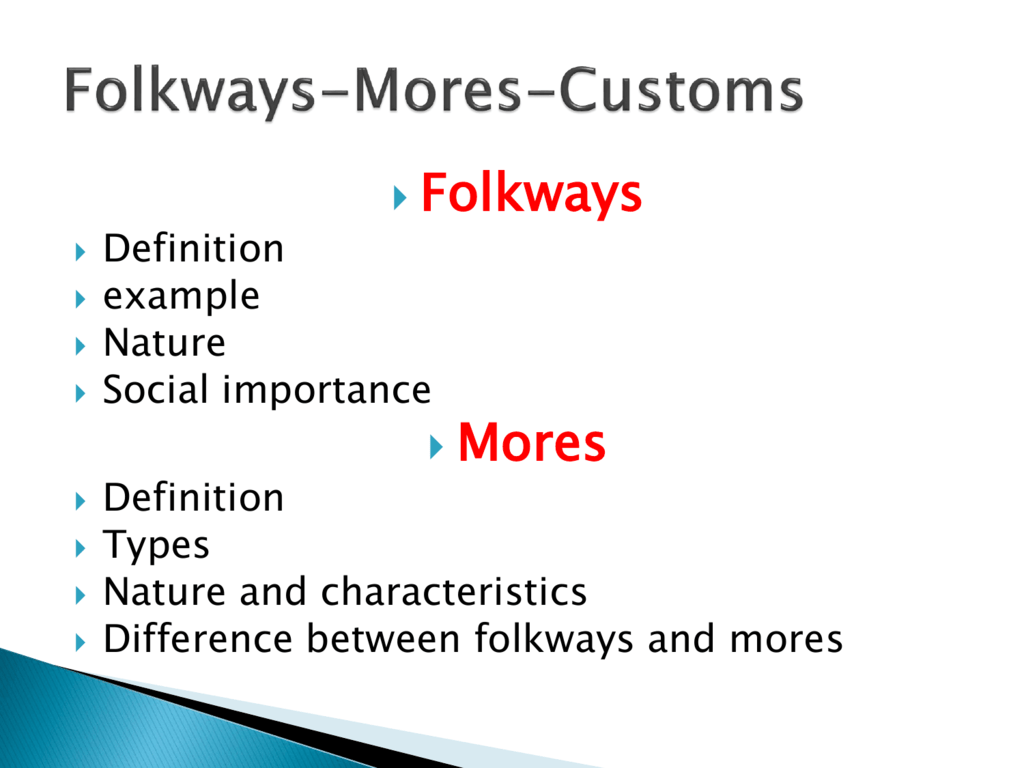 Examples Of Mores And Folkways Difference Between