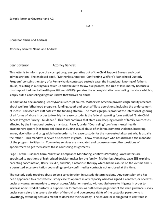 Sample Letter to Governor and AG