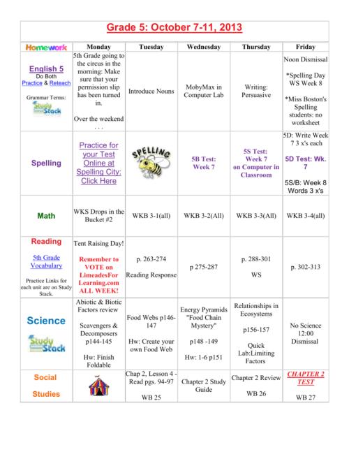 small resolution of Grade 5: October 7-11