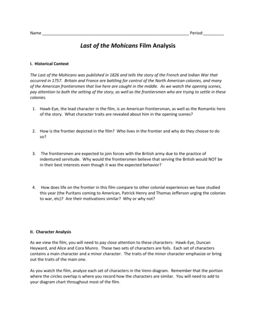 small resolution of period last of the mohicans film analysis i historical context the last of the mohicans was published in 1826 and tells the story of the french and