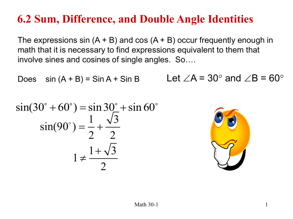 6 2 Sum Difference And Double Angle Identities