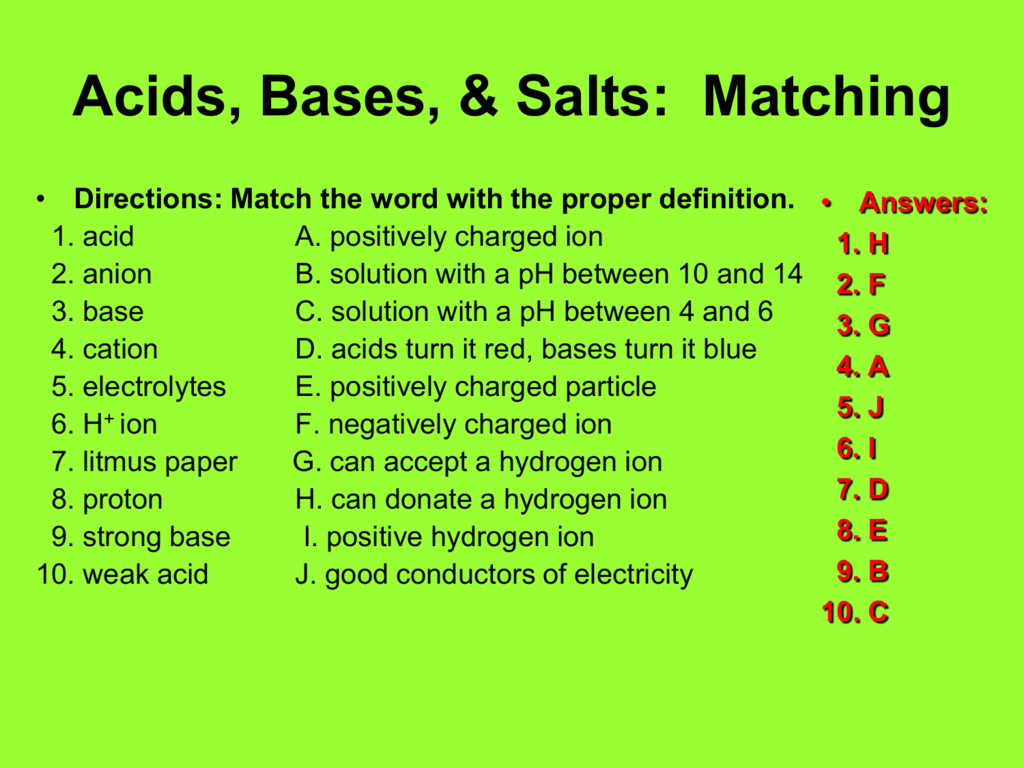 Acids Bases Amp Salts Matching