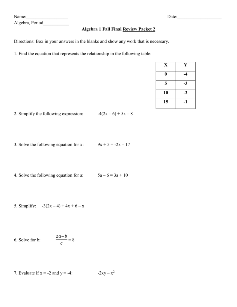 12-11 Algebra Fall Final Review Packet 2