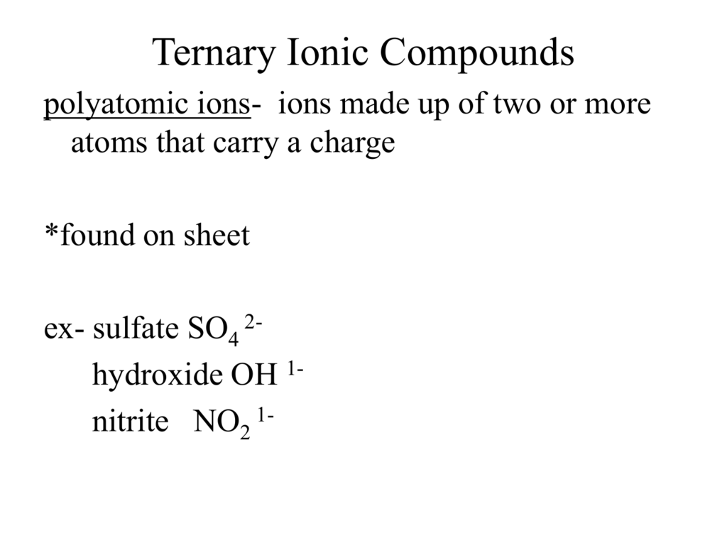 Rules For Naming Ternary Ionic Compounds
