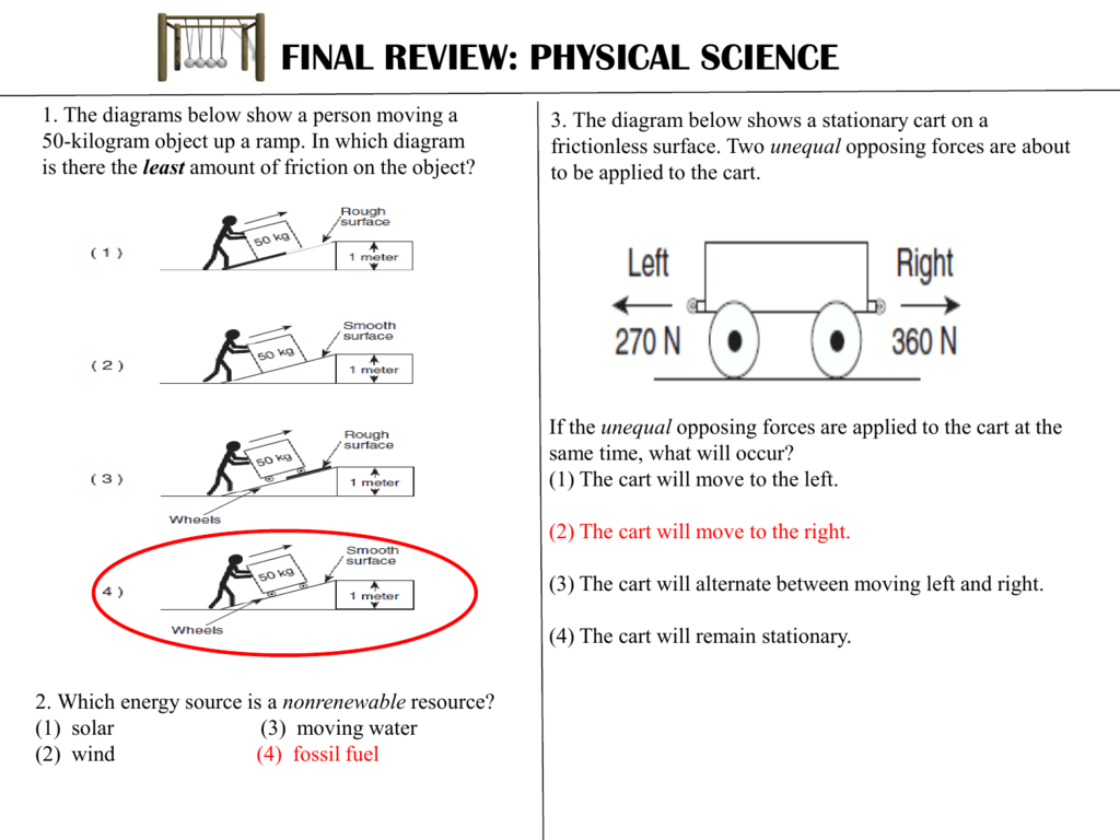 Physical Science Final Review Key