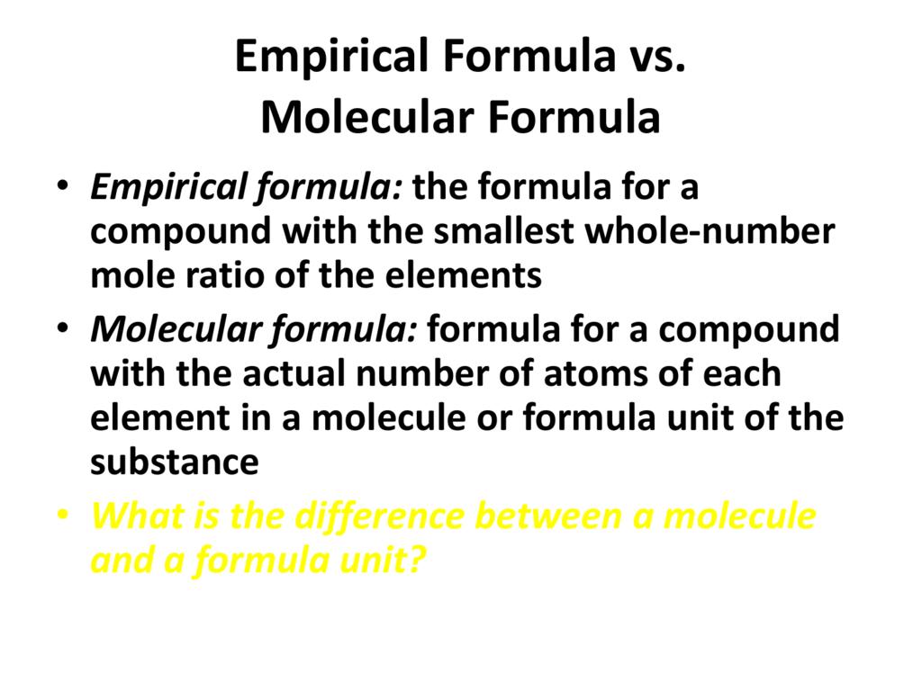 Empirical Formula Vs Molecular Formula