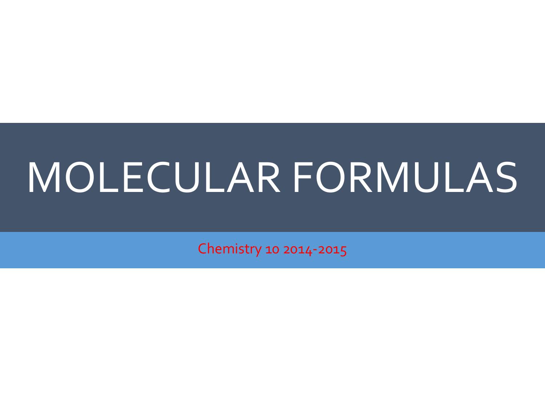 C 10 Empirical And Molecular Formulas
