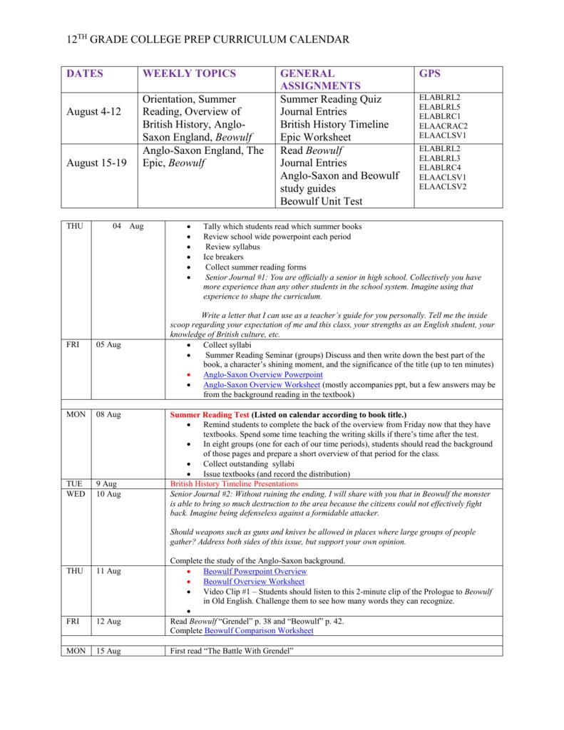 hight resolution of 12TH GRADE COLLEGE PREP CURRICULUM CALENDAR DATES
