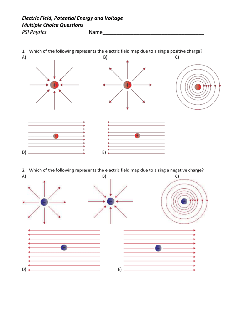 Electric Field, Potential Energy and Voltage Multiple Choice