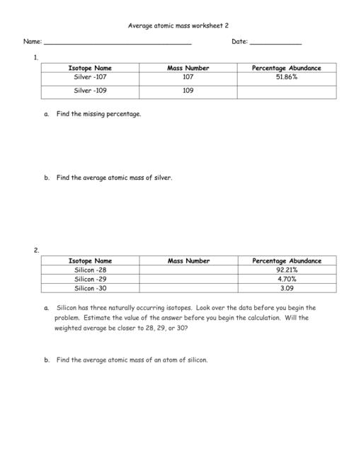small resolution of Average atomic mass worksheet