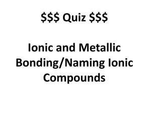 Ionic Bonding Lab Activity