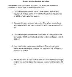 Grade 8 Science – Pressure Worksheet Instructions [ 1024 x 791 Pixel ]