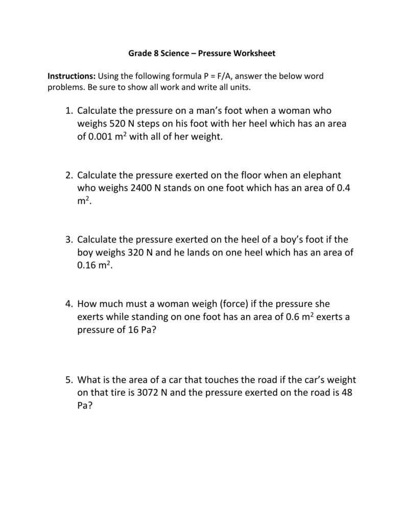 hight resolution of Grade 8 Science – Pressure Worksheet Instructions