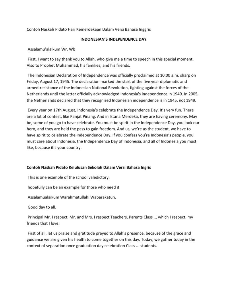Bahasa Inggris Hari Kemerdekaan : bahasa, inggris, kemerdekaan, Speech