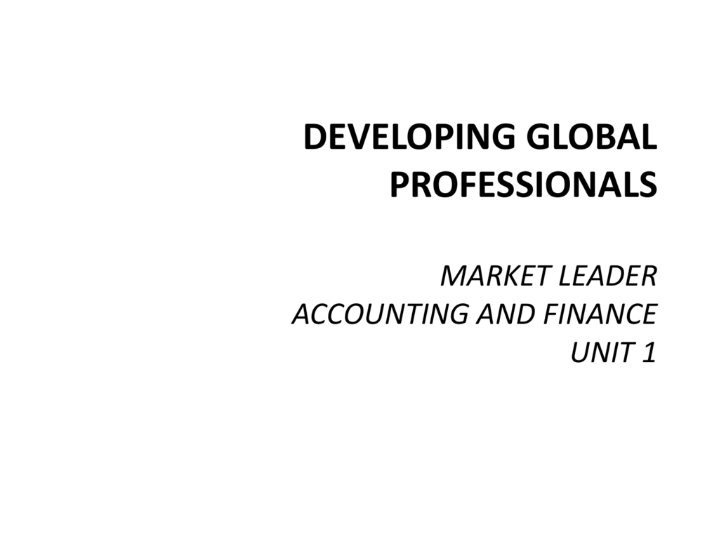 DEVELOPING GLOBAL PROFESSIONALS