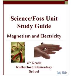 Science/Foss Unit Study Guide Magnetism and Electricity 4th Grade [ 1024 x 768 Pixel ]