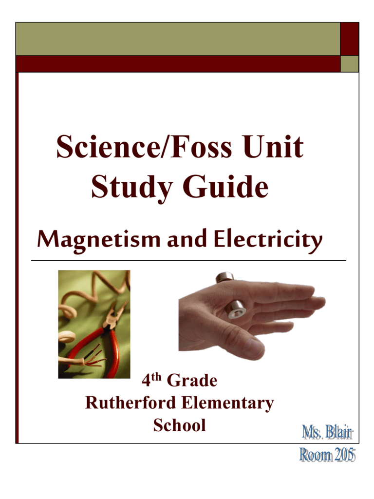 hight resolution of Science/Foss Unit Study Guide Magnetism and Electricity 4th Grade