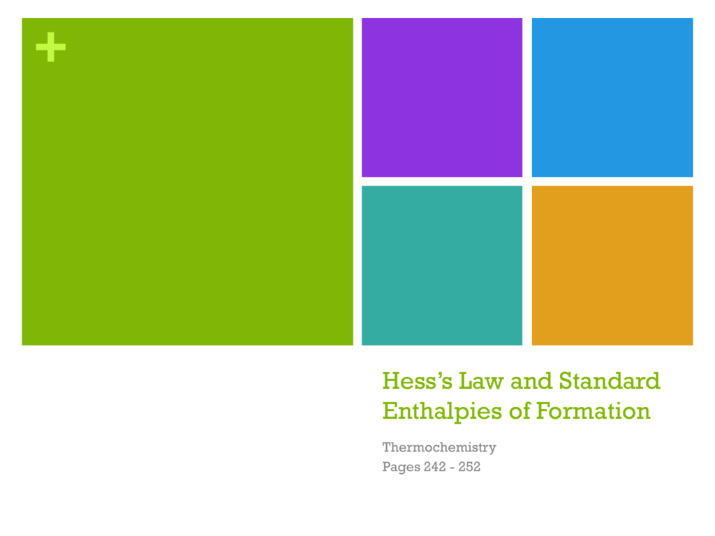 Hess S Law And Standard Enthalpies Of Formation