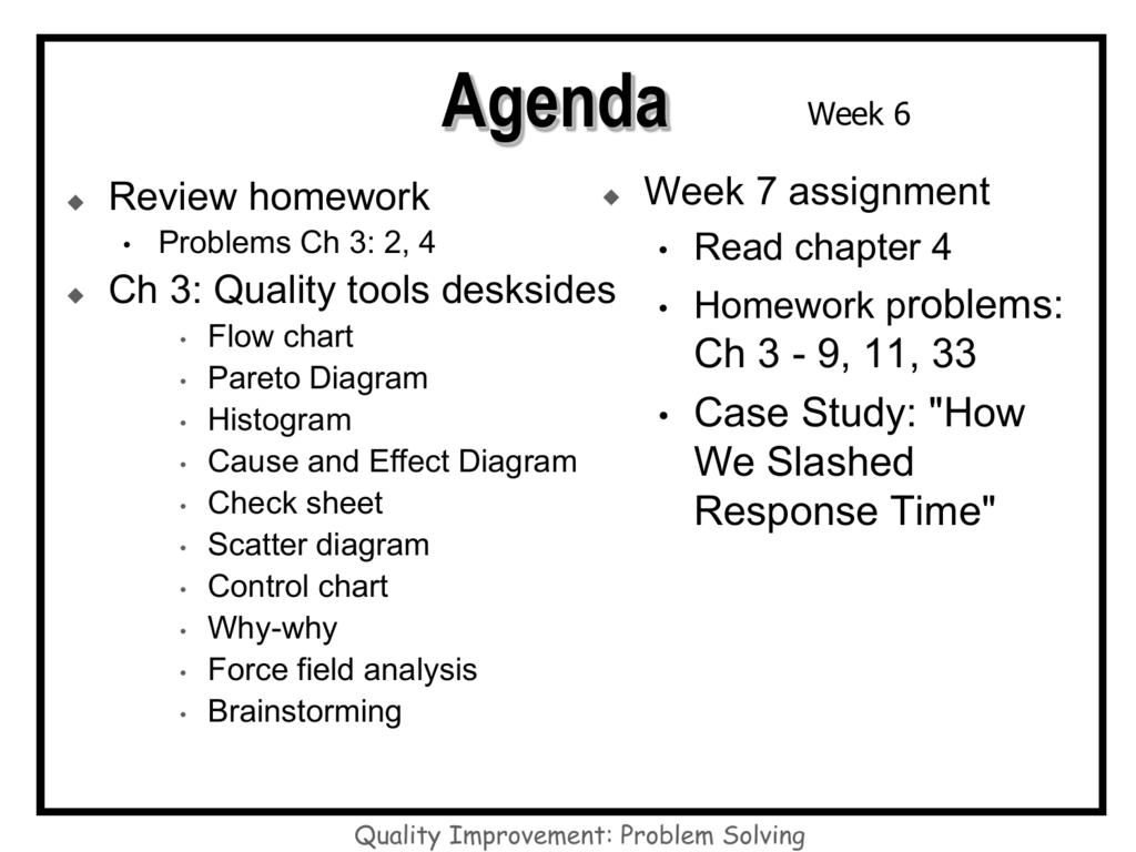 hight resolution of agenda week 6 week 7 assignment problems ch 3 2 4 read chapter 4 ch 3 quality tools desksides homework problems flow chart ch 3