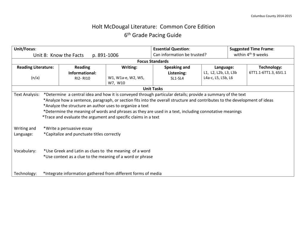 hight resolution of ELA-6th-grade-pacing-guide-Unit-8