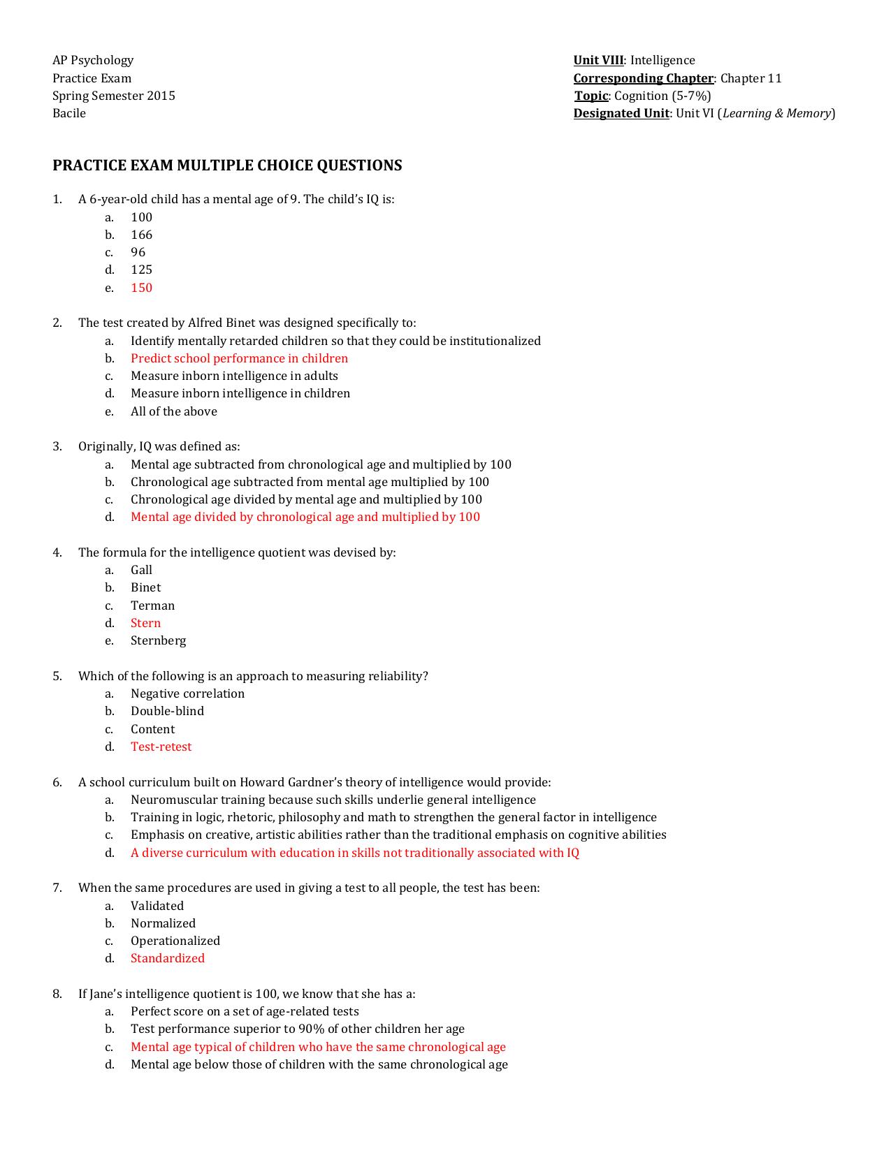 Unit Viii Practice Exam Answer Key Intelligence