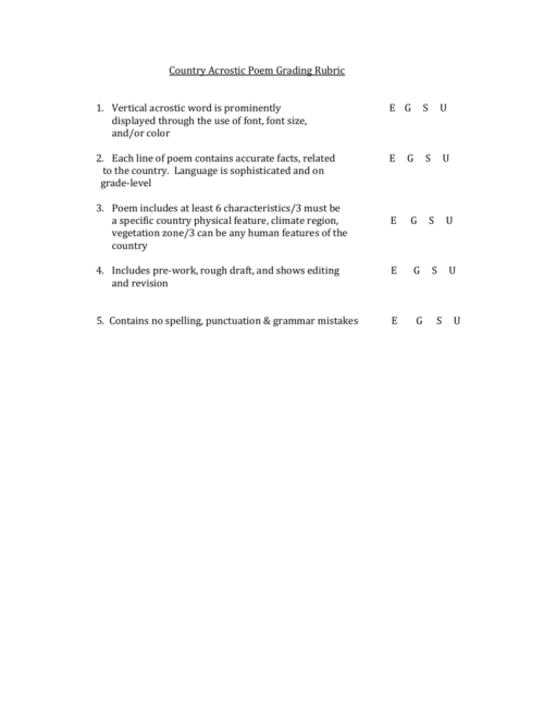 small resolution of Country Acrostic Poem Grading Rubric