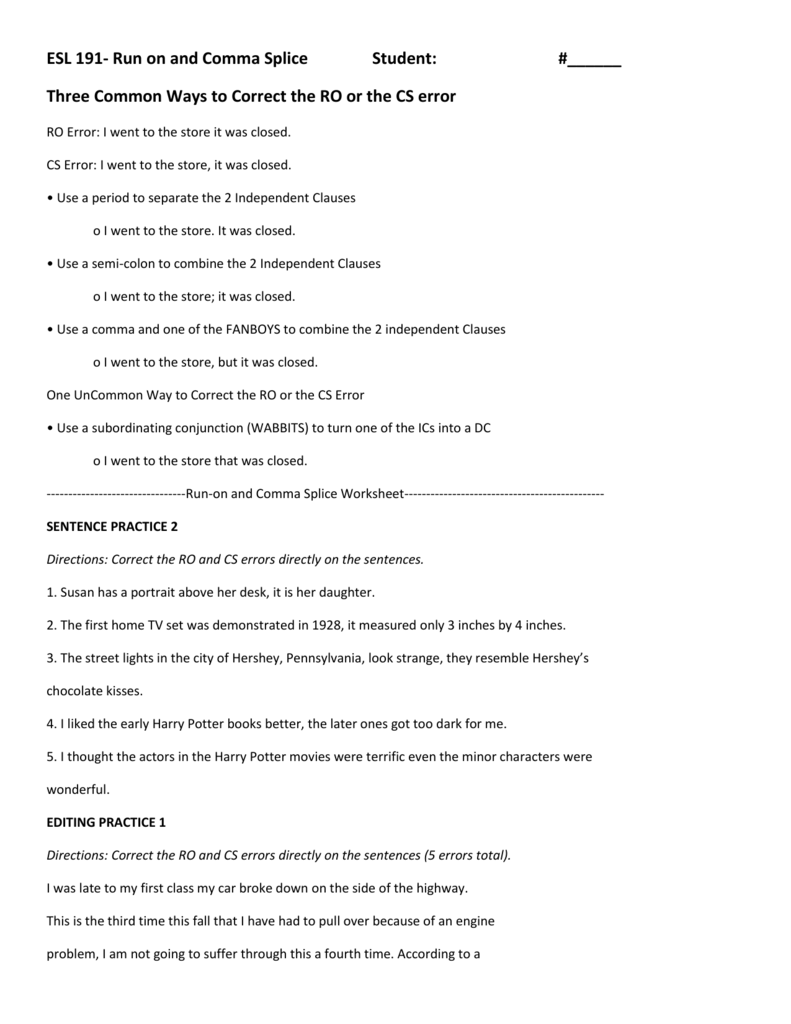 hight resolution of Run On and Comma Splice Worksheet
