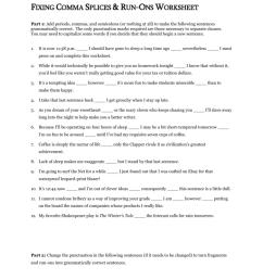 Fixing Comma Splices \u0026 Run-Ons Worksheet [ 1024 x 791 Pixel ]