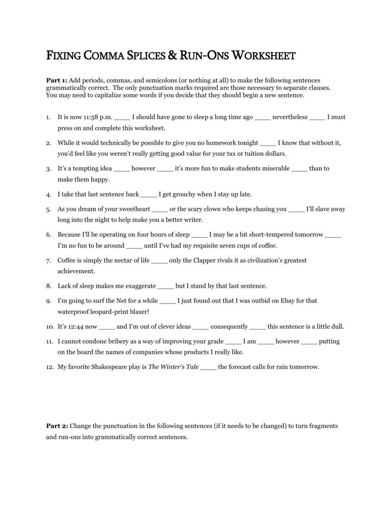 medium resolution of Fixing Comma Splices \u0026 Run-Ons Worksheet
