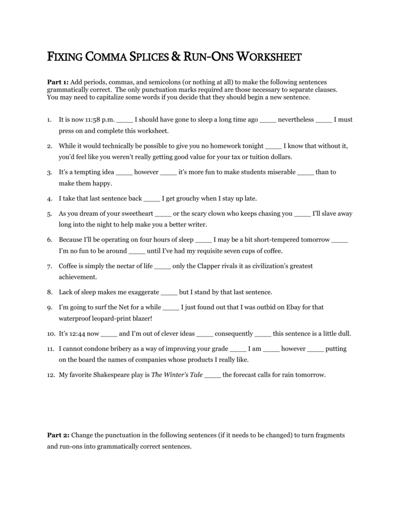 hight resolution of Fixing Comma Splices \u0026 Run-Ons Worksheet