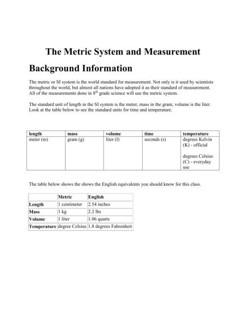 small resolution of The Metric System and Measurement Background Information