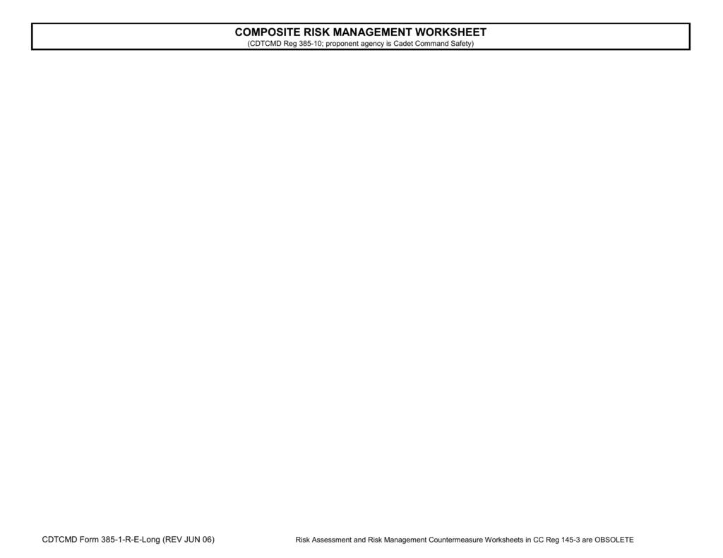 Composite Risk Management Worksheet