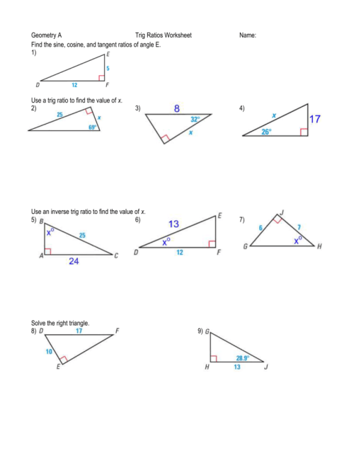small resolution of Geometry Trig Review Worksheet - Promotiontablecovers