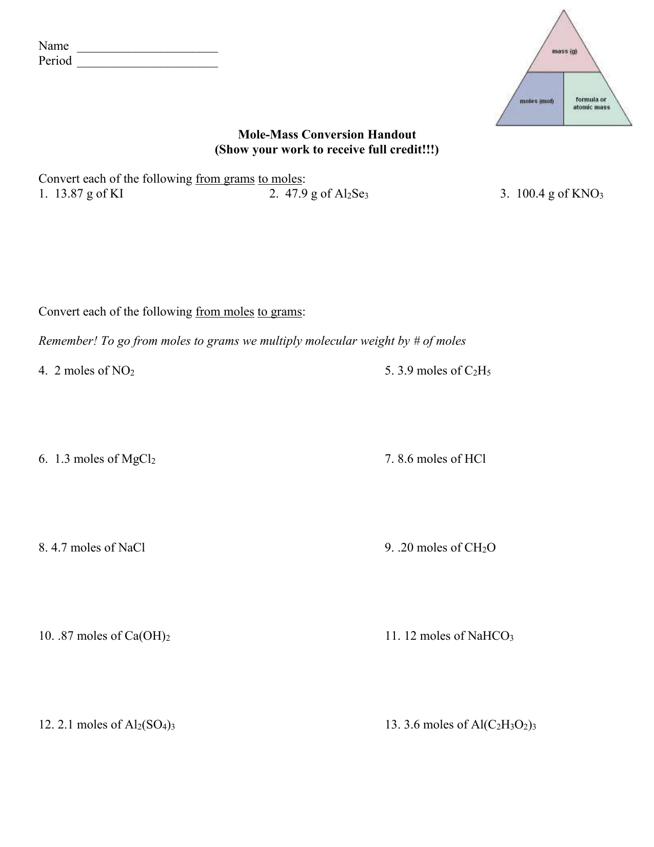 Mole To Mass Conversion Worksheet