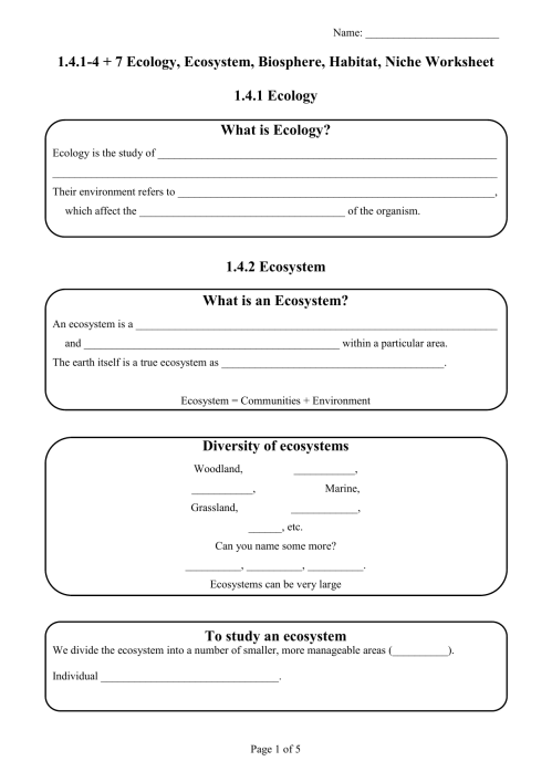 small resolution of Ecology Worksheet