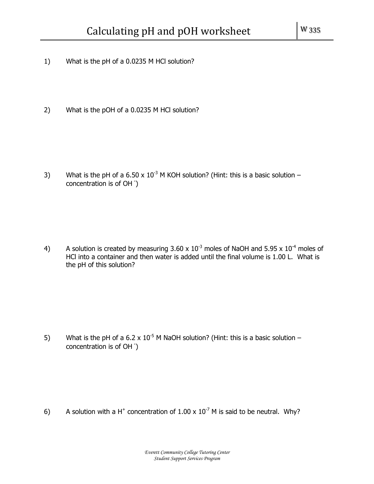 Calculating Ph And Poh Worksheet 2